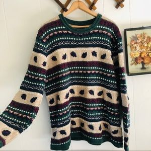 Nordic Fair Isle Knit Style Wool Blend Sweater